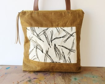 bucket tote • waxed canvas zipper tote bag • screeprinted pine needle print - brown waxed canvas - fall style - gifts under 100 • native