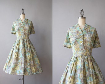 1950s Dress / Vintage 50s Dixie Deb Fit and Flare Shirtwaist Dress / 50s Printed and Pleated Day Dress