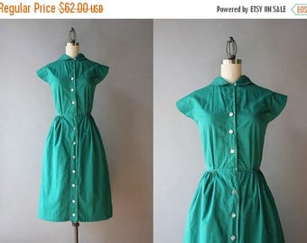 STOREWIDE SALE 1940s Dress / Vintage 40s Green Cotton Dress / 40s 50s Peter Pan Collar Day Dress S small