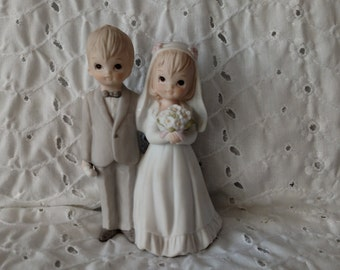 Vintage Bride Groom Figurine Wedding Cake Topper ~ Lefton