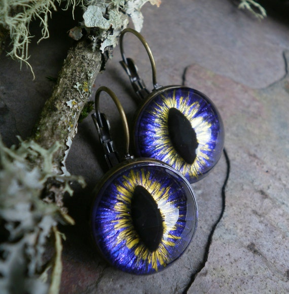 Gothic Steampunk Purple Eye Lever Back Earrings in Antique Bronze