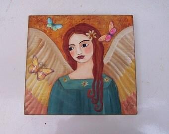 Angel Fairy Painting Original Folk Art Butterflies Encaustic Painting FREE SHIPPING