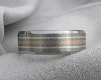 Titanium Ring, Wedding Band, Silver and Rose Gold Stripe Inlays, Beveled Edge