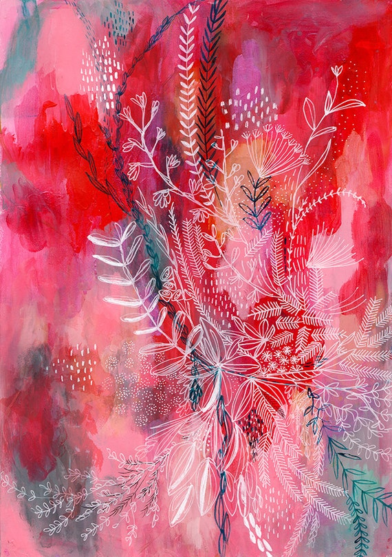 Pink and Red Botanical Patterns Archival Art Print