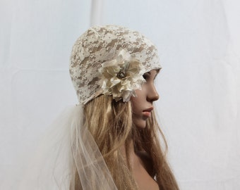 Vintage Couture Lace  Bridal Cap/flower Brooch/Detachable Veil-Light Ivory and Champagne CRBoggs Original