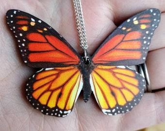 Monarch Butterfly Necklace, Orange Butterfly Pendant, Illustration Jewelry, Woodland, Animal Necklace, Wood Jewelry