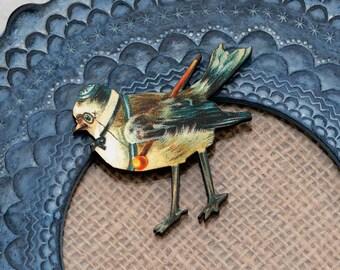 Bird Brooch, Wooden Bird Brooch, Bird Illustration, Woodland, Wood Jewelry, Animal Brooch