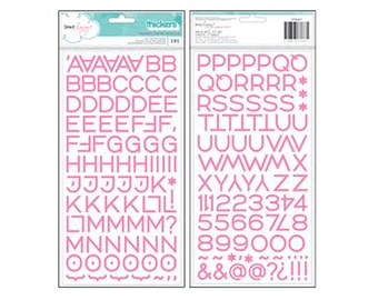 Pink Puffy Thickers - Dear Lizzy : Happy Place - American Crafts - Puffy Letter Stickers