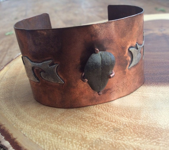 Western-Style Copper Cuff with Beach Stone and Sterling Silver