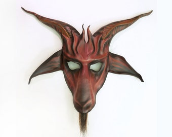 Baphomet Goat Leather Mask in Red with Black and Grey by Teonova