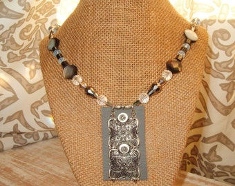 Artisan, Original Design, Leather, Metal Pendant, Hematite, Crystal, Mother Of Pearl, Trendy, Boho, One of a Kind