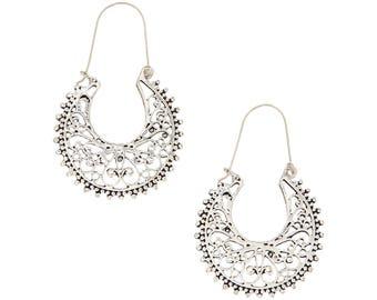 Silver Hoop earrings,Bohemian Jewelry,Filigree Silver hoops,BOHO EARRINGS,Tribal Brass earrings,minimalist earrings