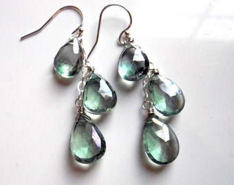 Mystic Green Quartz Cascade Earrings, lever back option, dangle earrings, cluster earrings