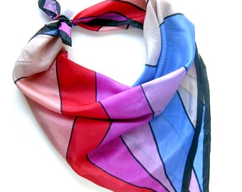 Vintage Silk Scarf in Swirling Stripes / Silk Scarf / Hand Rolled Hem
