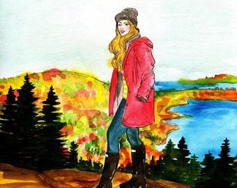 Bar Harbor Acadia Fashion Illustration Print
