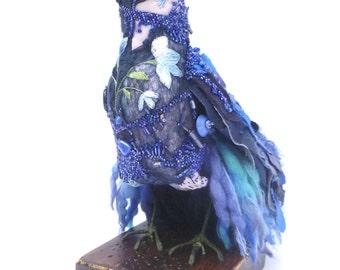 Marinel bird soft sculpture blue bird, fiber art bead embroidery, hand stitched, art object, up cycled eco friendly home decor textille art