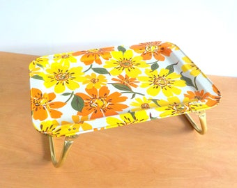 Vintage Metal Folding Lap Tray • 1960s 70s LaVada Floral • Bed Tray Sick Day Tray
