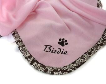 Pet Blanket.Personalized Pet Blanket. Dog Blanket. Cat Blanket. Fleece Pet Blanket. Pink Brown DamaskPet Blanket