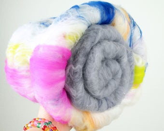Unicorn Dream/Storm Chaser - DUO - Merino Wool Art Batt 5.7oz