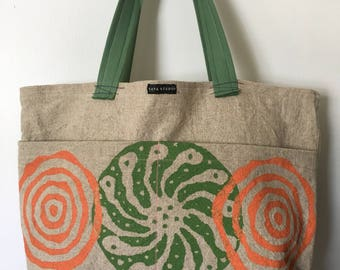 Silk Screened Linen Market Tote