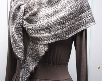 Hand Crochet Triangle Shawl Scarf with Tassels in Variegated Gray