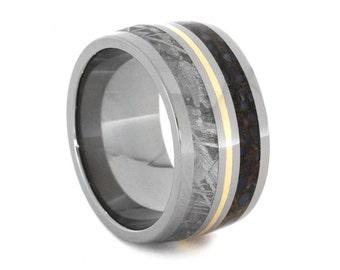 Meteorite Wedding Band, Dinosaur Bone Ring, Titanium Ring With A 14k Gold Pinstripe, Man Statement Ring