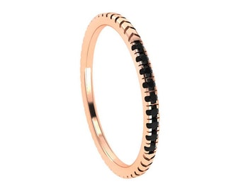 Black Diamond Wedding Band, 14k Rose Gold Ring, Half Eternity Band