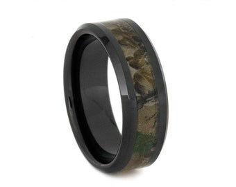 Black Ceramic Band, Camo Print Custom Inlay Wedding Ring, Mens Camo Ring