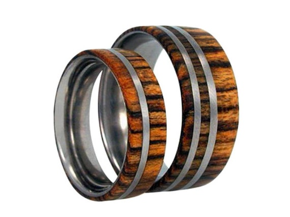 Wood Wedding Band Set, Mens Wedding Band With Matching Women's Ring, Titanium Rings With Amazon Rosewood