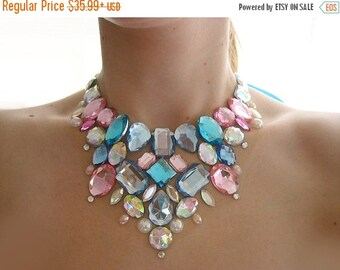 CYBER WEEK SALE Pastel Pink and Blue Rhinestone Cotton Candy Necklace, Pastel Necklace, Jeweled Statement Necklace, Rhinestone Bib Necklace