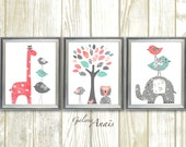 Coral and Turquoise Baby Girl Nursery Decor Elephant Giraffe Tree Birds Baby Nursery Wall Art Set of three prints