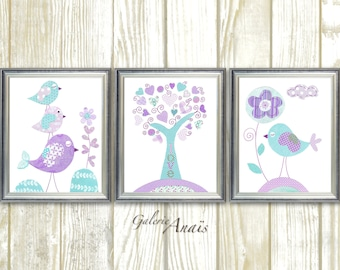 Aqua lavender purple nursery art Kids wall art baby nursery decor tree bird nursery wall art baby girls room Set of 3 Prints