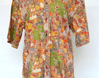 Stunning RARE MEXICAN Print Men's SHIRT. Vintage Unisex Shirt in a Novelty Print. Fitted Exotic Print Shirt for Men. Size Small