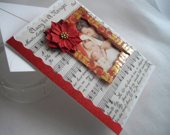 Religious Christmas Greeting Gift Card Holder One Of A Kind Holy Family Bits And Pieces Handmade by Marilyn handcraftusa Etsy