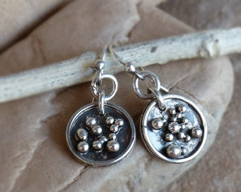 "1 1/4"" Rustic Sterling Silver Disc Earrings with Silver Granule Bubbles . Rustic Boho Tribal Southwest Style Jewelry"