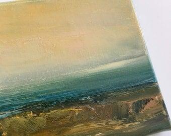Warm Shore- Painting-Shore-  Water-  Ocean View- Sky- Original Painting 6 x 6 Stretched Canvas- Sky- Impressionistic-Atmospheric