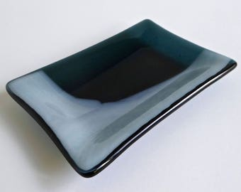 Fused Glass Dish in Sea Blue and Streaky White
