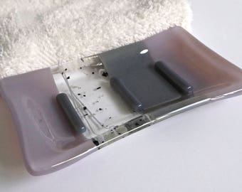 Fused Glass Soap Dish in Dusty Lilac and Gray by BPRDesigns