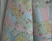 Bunnies and Cream Baby Girl, Toddler or Crib Quilt - Penny Rose Fabrics/Riley Blake Designs