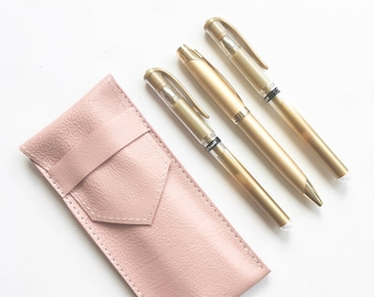 Leather Pen Case - Pink