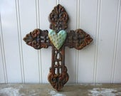 Rustic cast iron cross filigree faux rust verdigris dotted heart wall hanging 8 inch metal cross brown Christian Divine Religious decor LR3