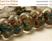 ON SALE 35% OFF On Sale 50 Percent Off Handmade Glass Lampwork Bead Set - Six Green w/Mutiple Color Rondelle Beads 10601901