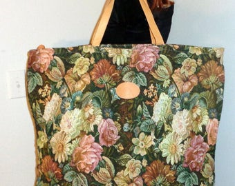 Oversize Carry on luggage travel  bag , shopping tote  tapestry saddle leather trim and  dual handles vintage early 90s very clean