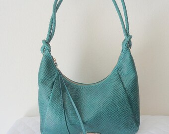 Elliott Lucca vintage hobo bag , satchel, purse, shoulder bag python  textured genuine leather in deep teal vintage 90 s