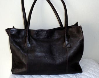 Latico COLOMBIA XL  business tote, carryall bag, satchel  briefcase in dark chocolate brown buttery genuine leather vintage N MINT
