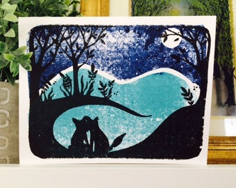 Moonlit Fox Silhouettes - Love Card - Gocco
