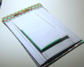 perforated notepad - upcycled junkmail envelopes - polka dot turquoise