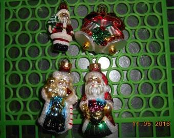 Vintage Lot of 4 Beautiful glass Christmas Ornaments 3 Santa and 1 bells