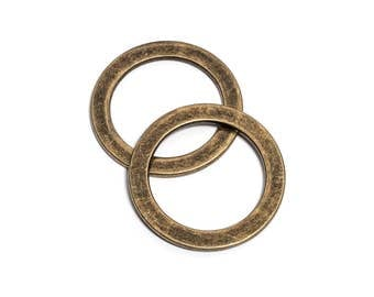 "50pcs - 1 1/2"" (38mm) Flat Zinc O-Ring - Antique Brass - (FOR-118) - Free Shipping"