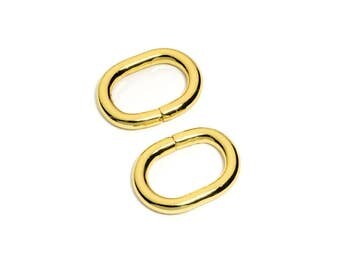 "100pcs - 3/4"" (20mm) Metal Oval Rings Non Welded - Gold - Free Shipping (OVAL OVL-105)"
